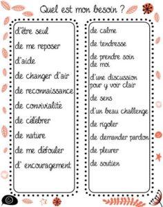 liste de besoins pour enfant